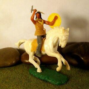 Original-Hausser-Elastolin-5-6cm-Steckfigur-beweglich-Indianer-Krieger-zu-Pferd