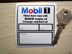 Mobil One Filled From New Service Oil Change Sticker Car Engine
