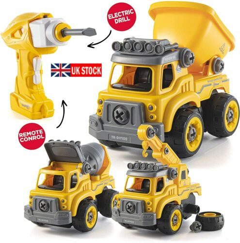 UK Take Apart Toys W//Electric Drill 3 in 1 Construction Truck Remote Control Car