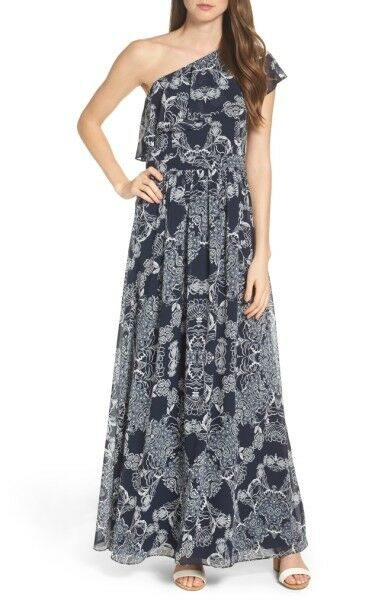 NWT Vince Camuto Navy bluee White Floral Print One Shoulder Maxi Dress'SZ 10
