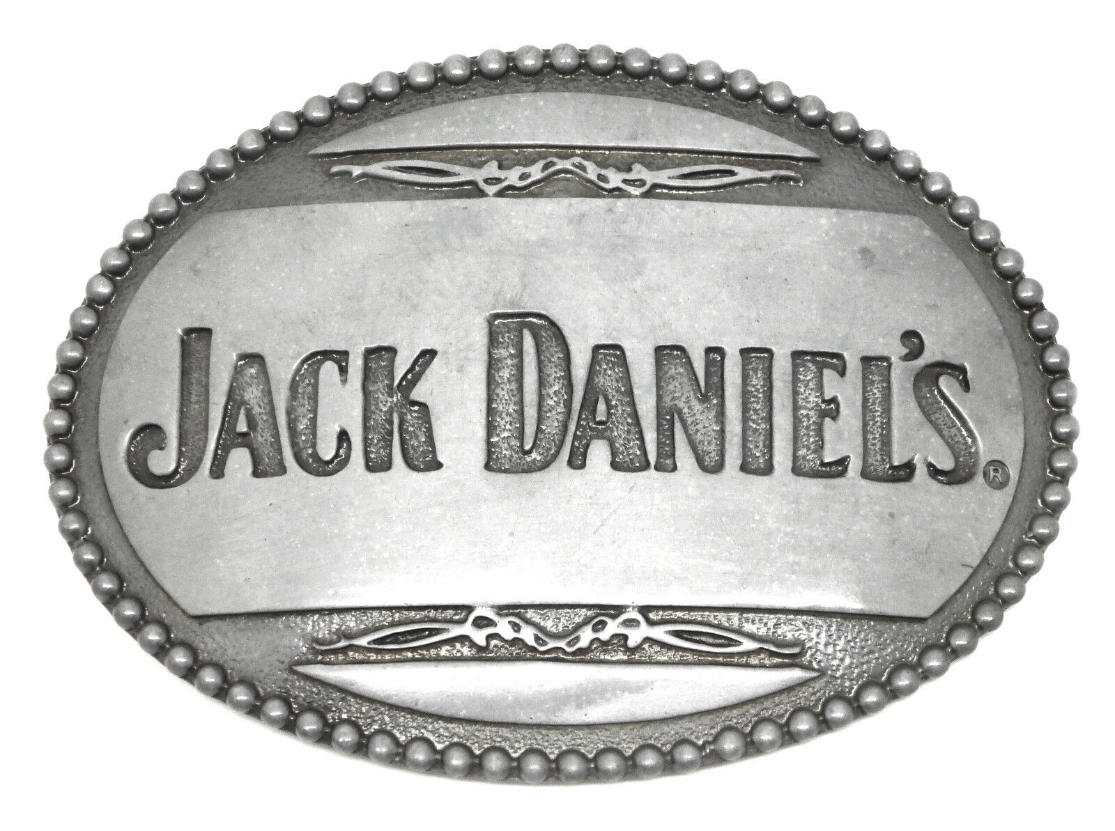 Jack Daniel`s Belt Buckle Grey Curved Oval Authentic Officially Licensed Product