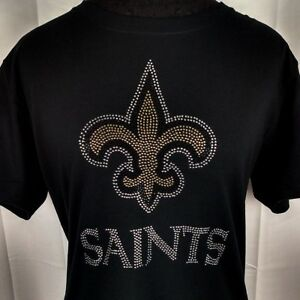 Women-039-s-New-Orleans-Saints-Rhinestone-Football-T-Shirt-Tee-Bling-Lady-Ladies