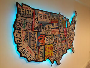 License Plate Map Of The United States Pub Bar Mancave Recycled Art Usa Ebay