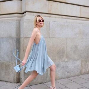 Jacquemus NEW La Petite Robe Belleza Deep V Neck Open Back Dress 40 Light Blue