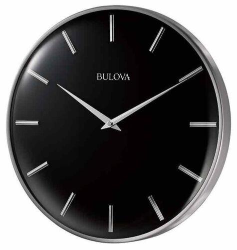 Bulova 16 Metro Quartz Satin Pewter Finish Metal Black Dial Wall Clock C4849