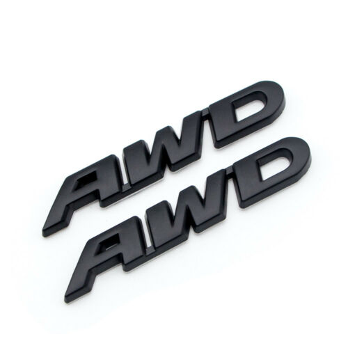 2x Matte Black Metal AWD Side Fender Badge Off-Road All Wheel Drive Rear Emblem