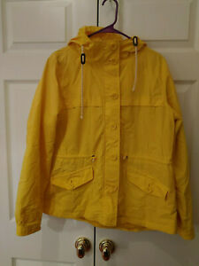 Women-J-Crew-Factory-Yellow-Hooded-Perfect-Rain-Jacket-Size-L