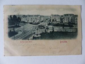AK-DRESDEN-Barbarossaplatz-1901-Gelaufen-TRAM