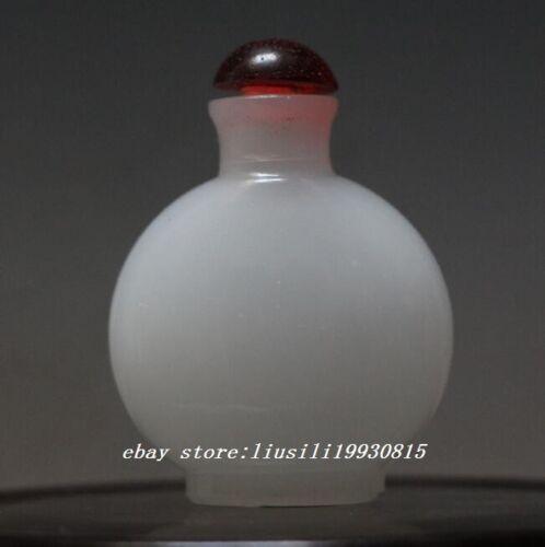 Exquisite Chinese Handmade White Jade Snuff Bottle