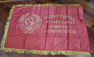 HUGE-160x120cm-Original-Vintage-Russian-USSR-Soviet-Flag-Banner