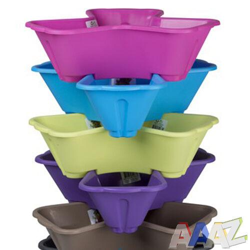 Plastica 3 Piante Vasi Da Fiori Vaso titolare colorate erba FIORIERA COLORE IMPILABILE