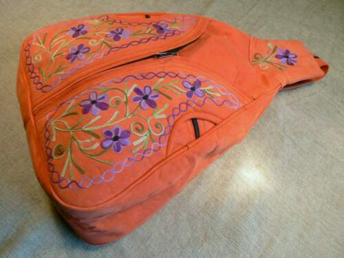 Ante Zaino Embroidered Mochila Lined Nepal Handmade Suede Pelle Backpack qZ1Z6