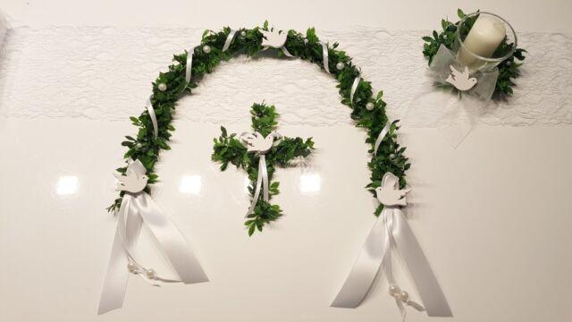 SET Ehrenplatz Ranke +Kreuz weiss Tauben Kommunion Konfirmation  Tischdeko Taufe