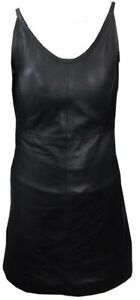 NEW-BLACK-REAL-GENUINE-LEATHER-LADIES-WOMAN-SEXY-DRESS-SIZE-8-18