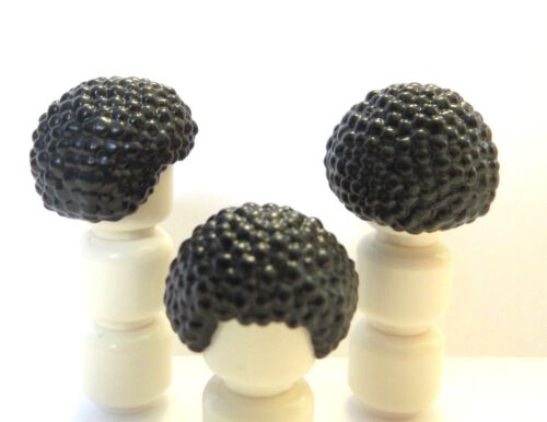 Lego 3 Hair Wig For  Minifigure Figure Black Bobbly Curly Disco