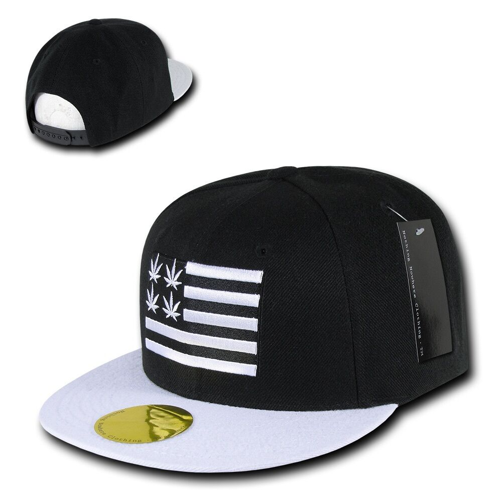 18a74f55f22 Black Weed Leaf Pot 420 Cannabis Marijuana Flat Bill Snapback ...