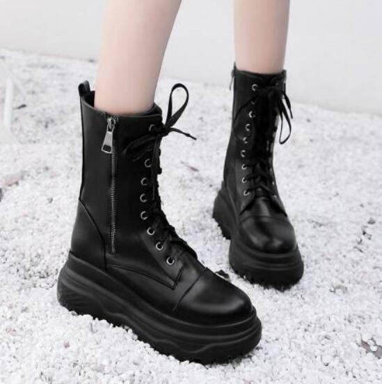 Womens Combat Vintage Sz35-43 Creeper Lace Up Combat Zipper Wedge Heel shoes