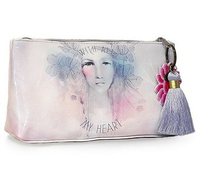 White Pastel With All My Heart Papaya Art Small Makeup Cosmetic Bag Pouch Tassel