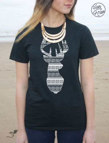 * RENNA T-shirt Top Moda NATALE REGALO Stag HEAD Knit PATTERN INVERNO *