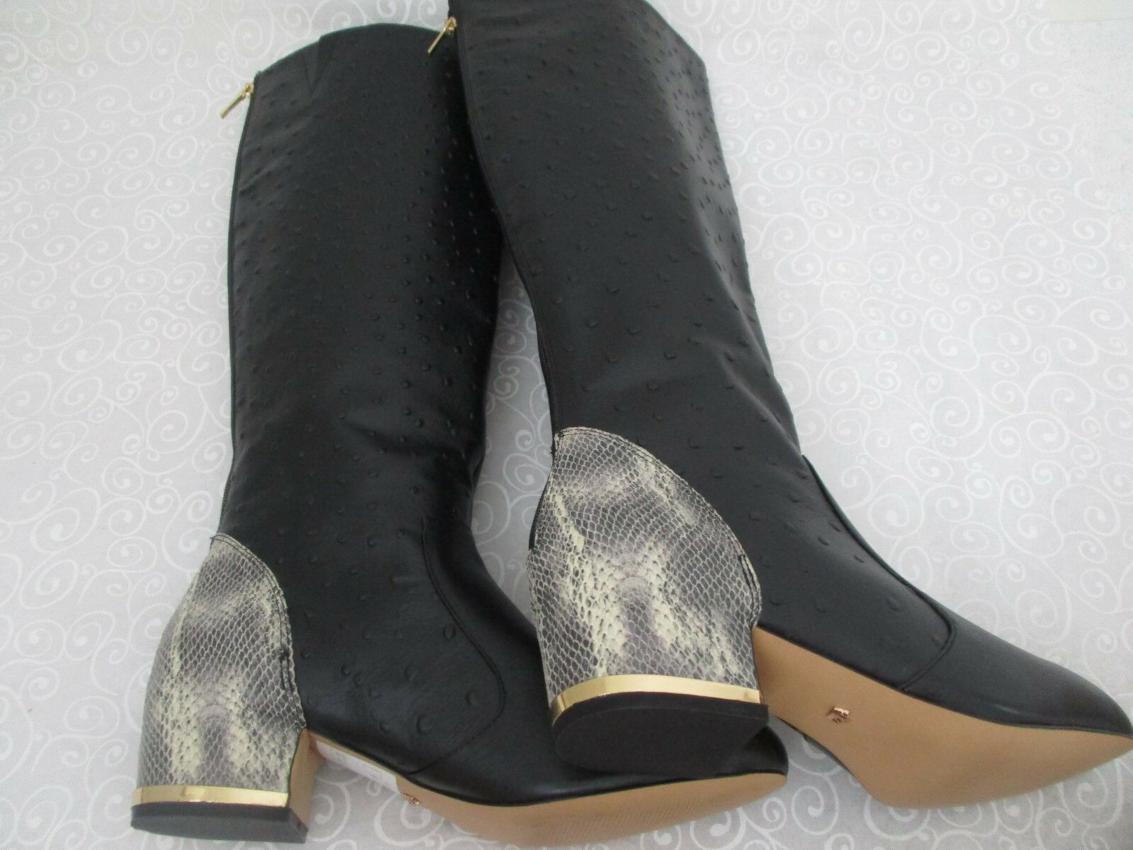 239 DEESIGNS BLACK OSTRICH LEATHER 11 KNEE HIGH Stiefel SIZE 11 LEATHER W - NEW b35af1