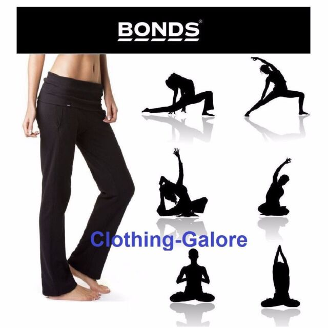 Authentic BONDS Womens Black Roll Down Trackies Trackie Track Ladies Pants Yoga
