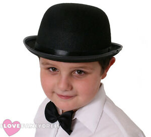 CHILD S BLACK FELT BOWLER HAT 55CM KIDS FANCY DRESS COSTUME ... 4b05c83d160
