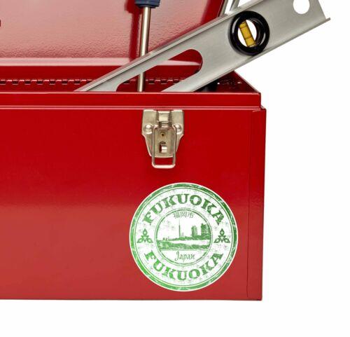 # 9706 2 x 10cm Fukuoka au Japon Autocollant Decal bagages valise voyage étiquette portable