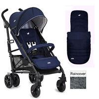 Joie Brisk Lx Stroller Pushchair With Footmuff & Raincover Midnight Navy