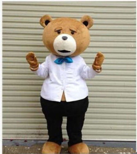 Teddy Bear of TED Mascot Costume Adult Size Halloween Dress Cartoon Fancy Outfit