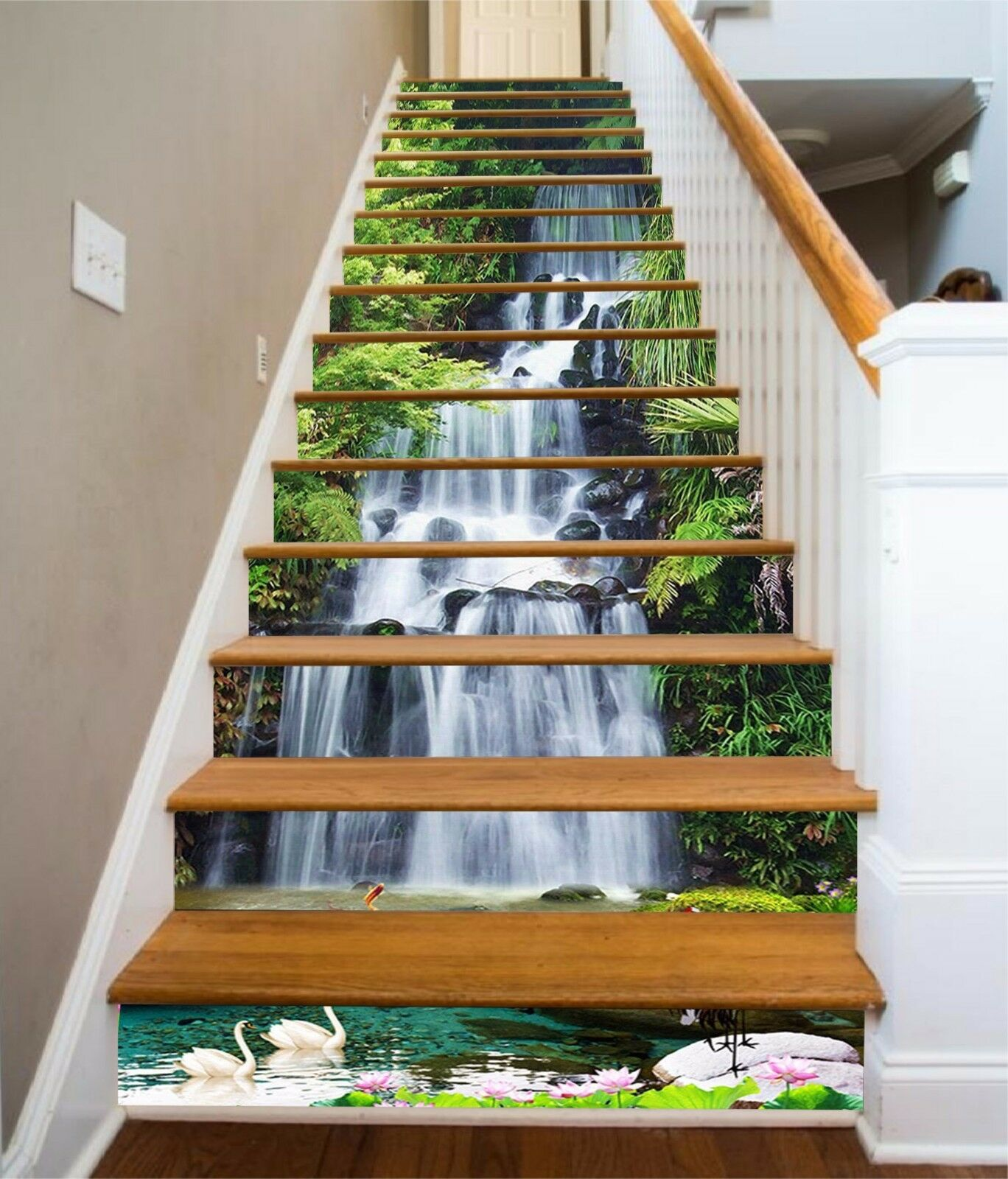 3D Creek Falls 121 Stairs Risers Decoration Photo Mural Vinyl Decal Wallpaper US