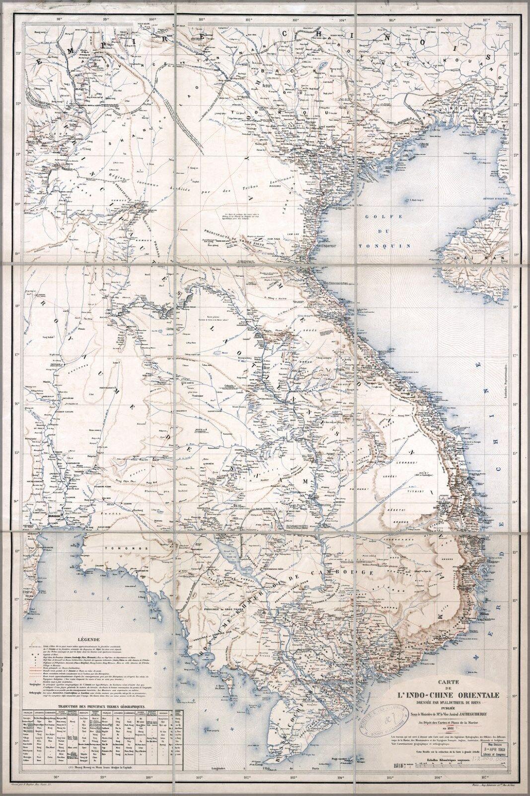 Plakat, Viele Größen; Karte von Vietnam Laos Kambodscha auf Französischem 1881