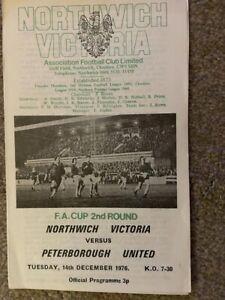 Northwick Victoria v Peterborough FA Cup 1976/77 Football Programme