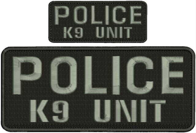 K-9 UNIT EMBROIDERY PATCH 4X10/' and 2x5 hook ON BACK white