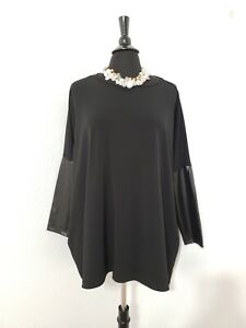 Clara-Sun-Woo-Black-Faux-Leather-Sleeve-Blouse-Sz-Large