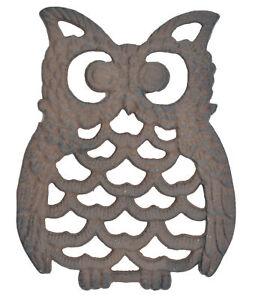 Details About Decorative Cast Iron Trivet Owl Hot Pad Kitchen Decor Table 7 75 Long