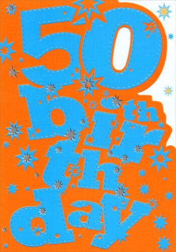Large Blue Letters on Orange Die Cut Age 50 50th Birthday Card