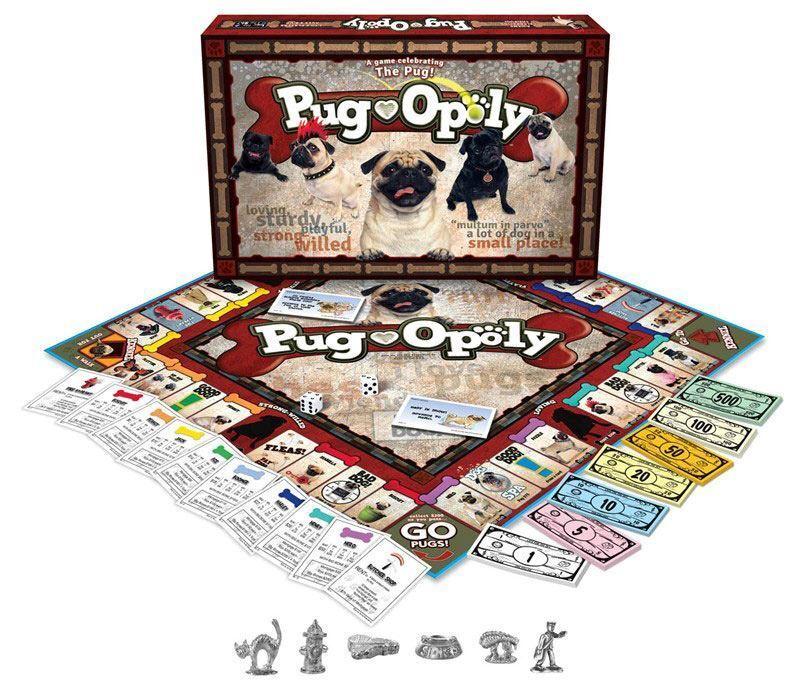 Pug-Opoly Juego de Mesa Familiar - Juego para Perro Pug Amantes