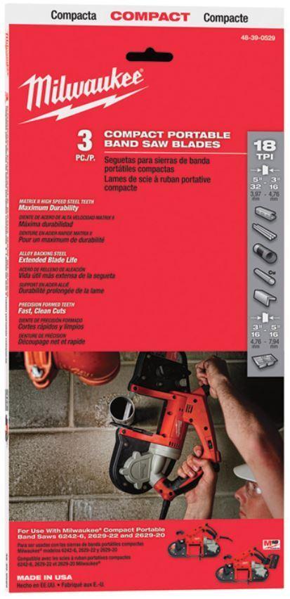 Milwaukee 3St. Bi-Metallsägebänder,Ersatzbänder , für HD18 BS, Zubehör 48390529