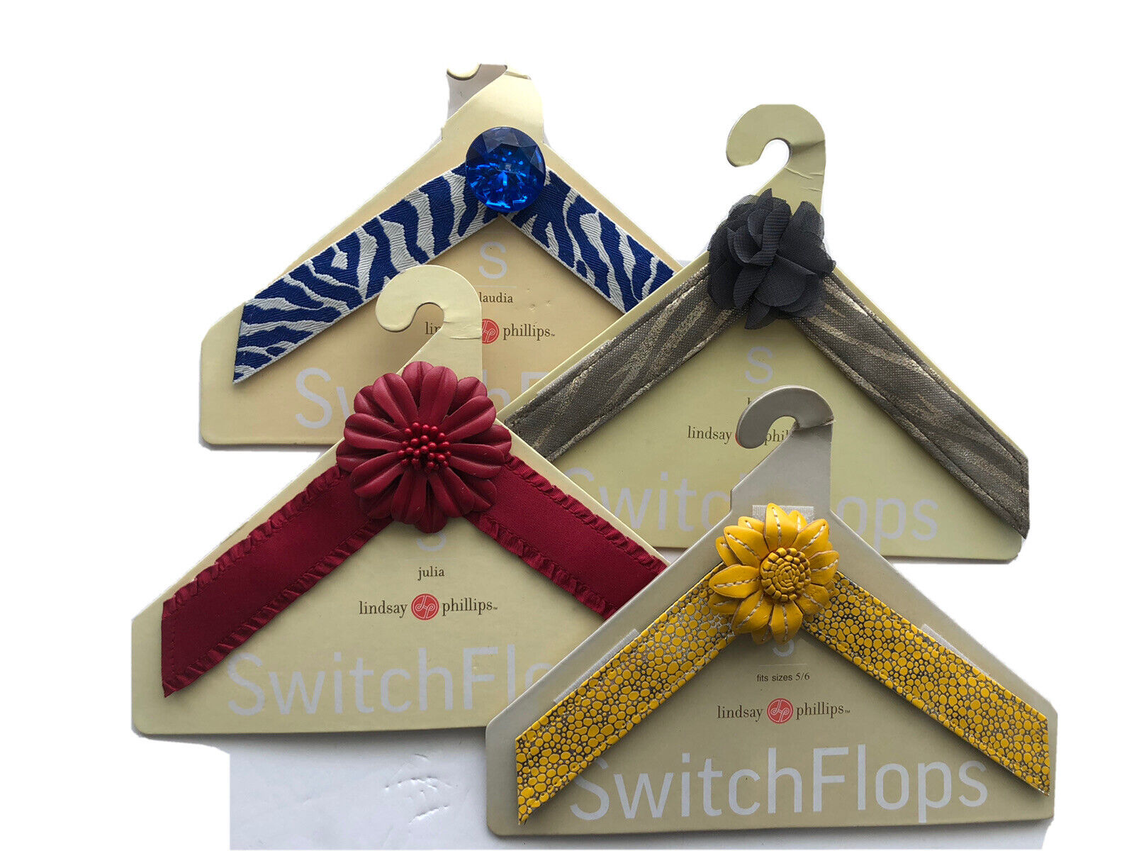 Lindsay Phillips Switchflops Size Small Straps New Set of 4 Abbey Julia Claudia