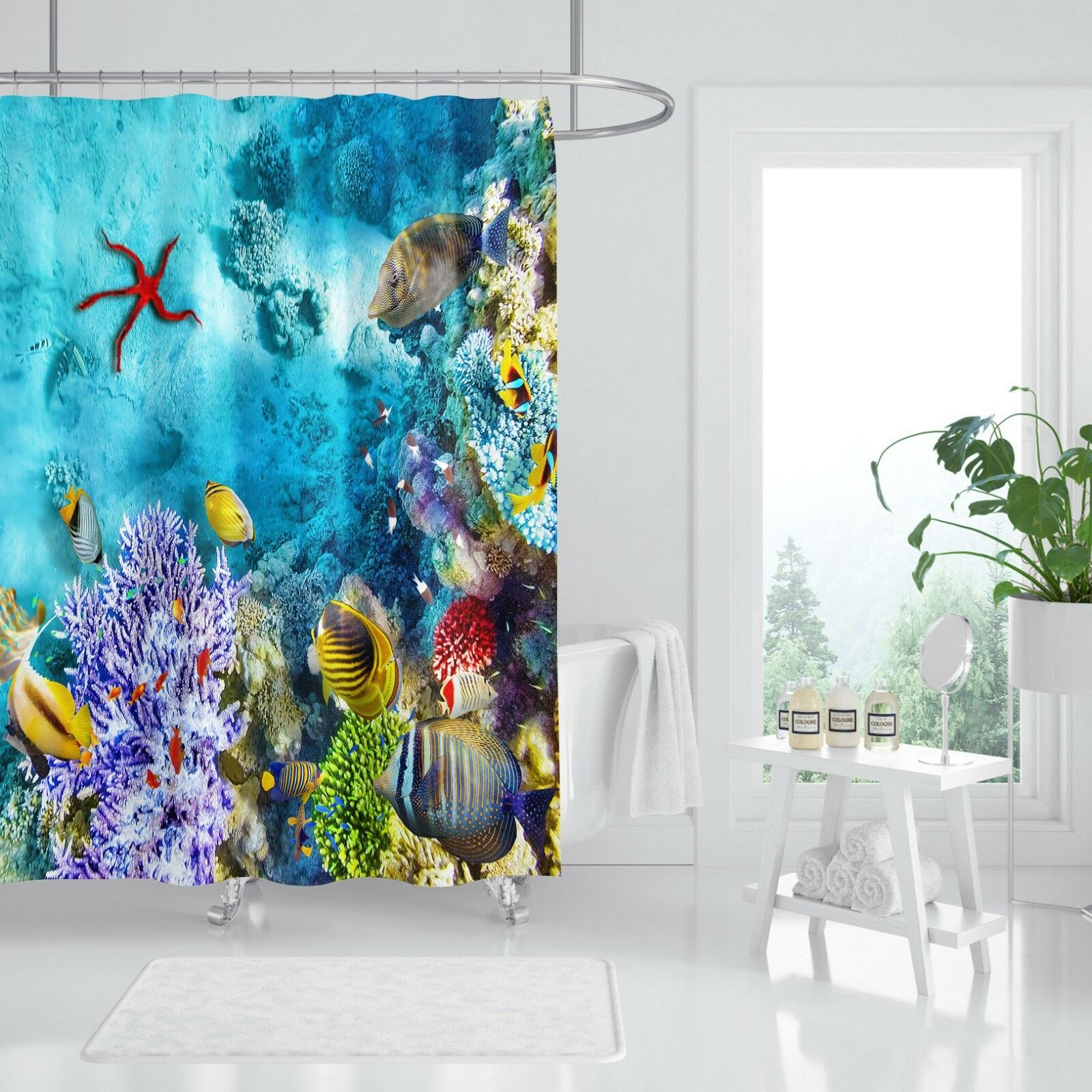3D Seestern 534 Duschvorhang Wasserdicht Faser Bad Daheim Windows Toilette DE