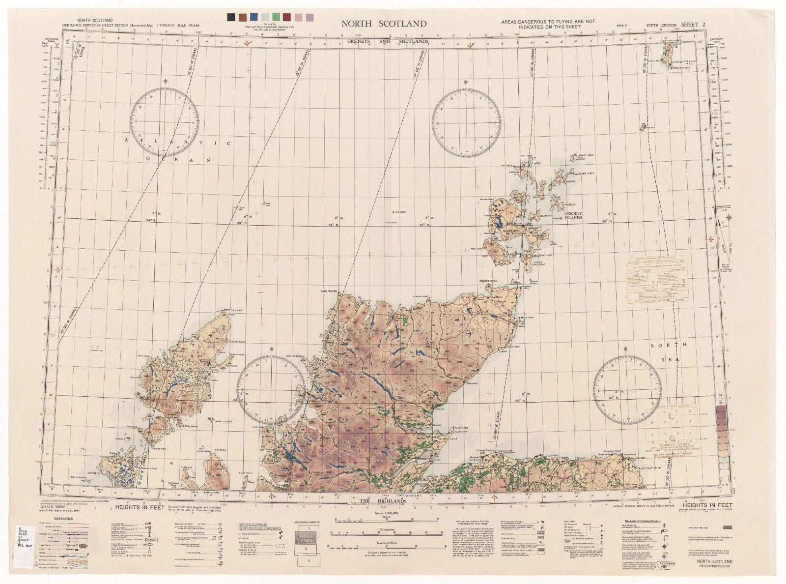 WW2 RAF MAP OF NORTH SCOTLAND PRINT