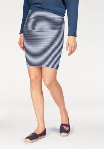 Tommy Hilfiger Denim Rock Gr.XS Streifen Marine Weiß Damen Stretch Blau Skirt