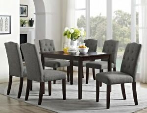 Details about 7 Pc Dining Room Set Mocha Wood Kitchen Table Gray  Upholstered Chairs Sets Grey