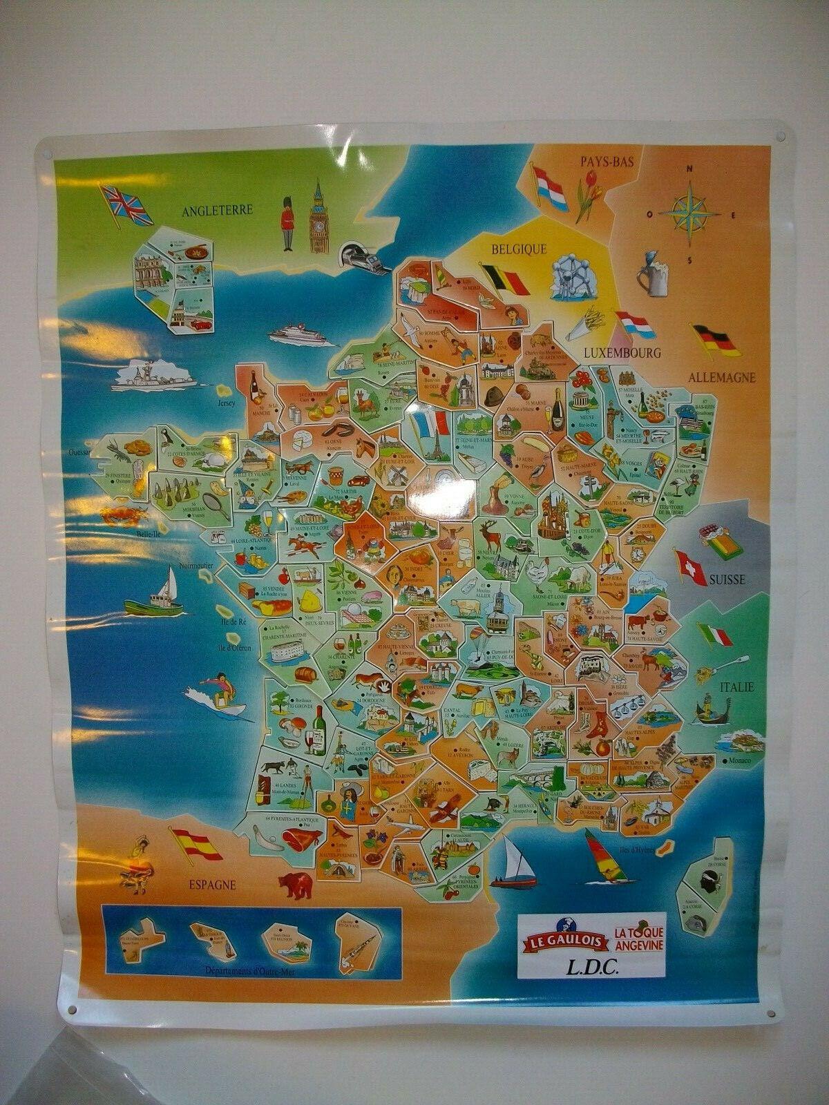 MAGNETS LE GAULOIS CARTE + DEPARTEMENTS   2001  1ere édition complète