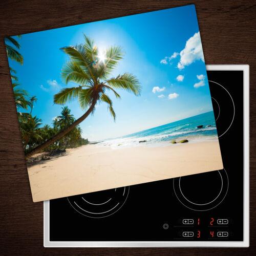 Cuisinière-Casing Verre Ceranfeld-couvercle DECO Tropicale De Plage 60x52 Cm