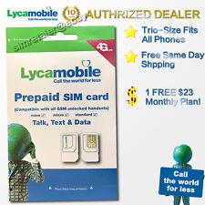 Lycamobile Prepaid Micro/nano SIM Card Preloaded W/ Plan 1st One Month