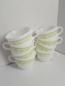VINTAGE-PYREX-SUMMER-IMPRESSIONS-SUNSHINE-Cups-8-pcs-White-Yellow-Green