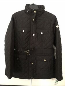 MICHAEL KORS Belted Diamond Quilted Zip Up Snap Button Jacket Black  Size L New