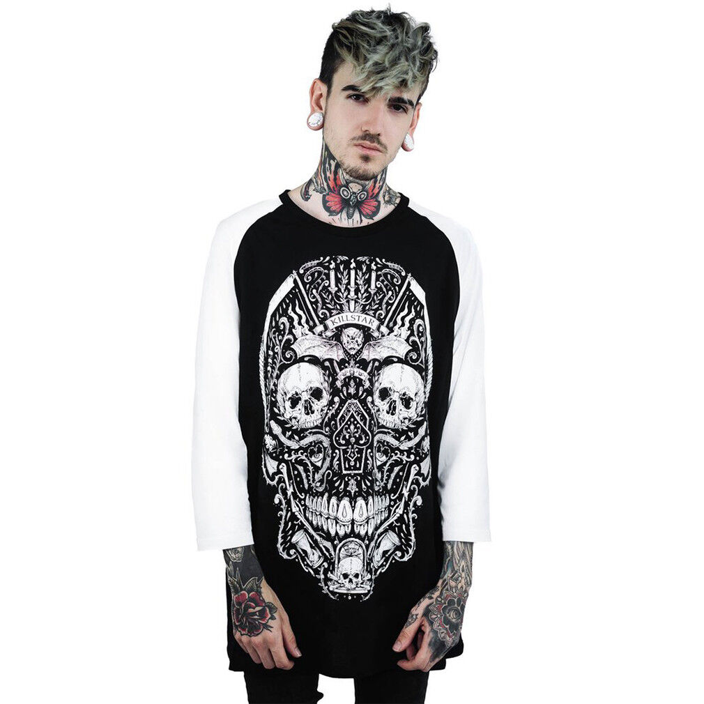 Killstar Gothic Goth Okkult Punk 3 4-Arm Raglan T-Shirt Memento Mori Sugar Skull