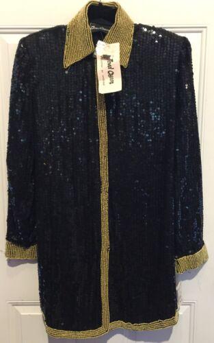 Jewel Queen 100% Pure Silk VTG NWT Black Stood Seq